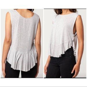 We The Free S grey Uptown Ruffle Hem Tank
